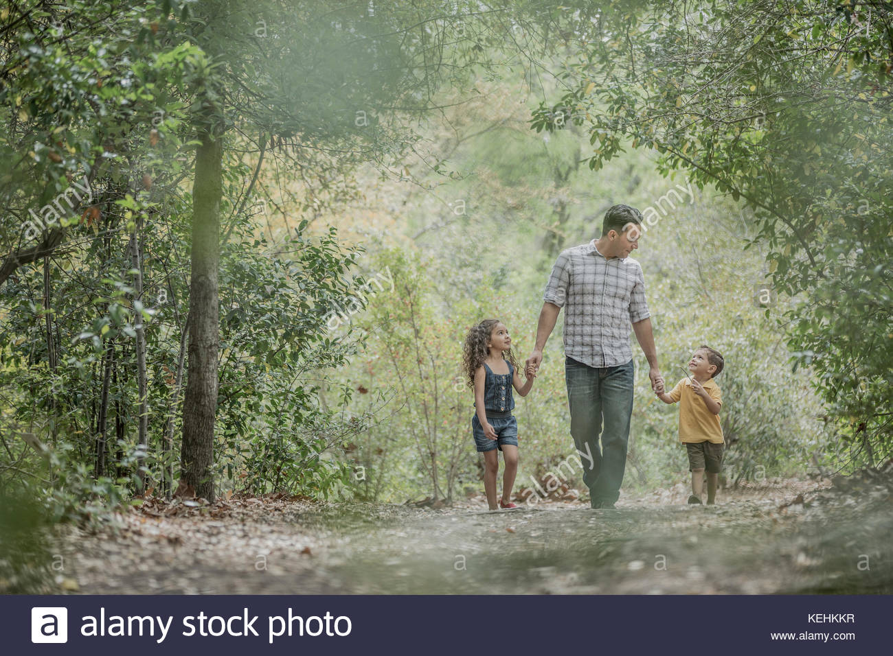 Hispanic Vater zu Sohn und Tochter im Wald Stockbild