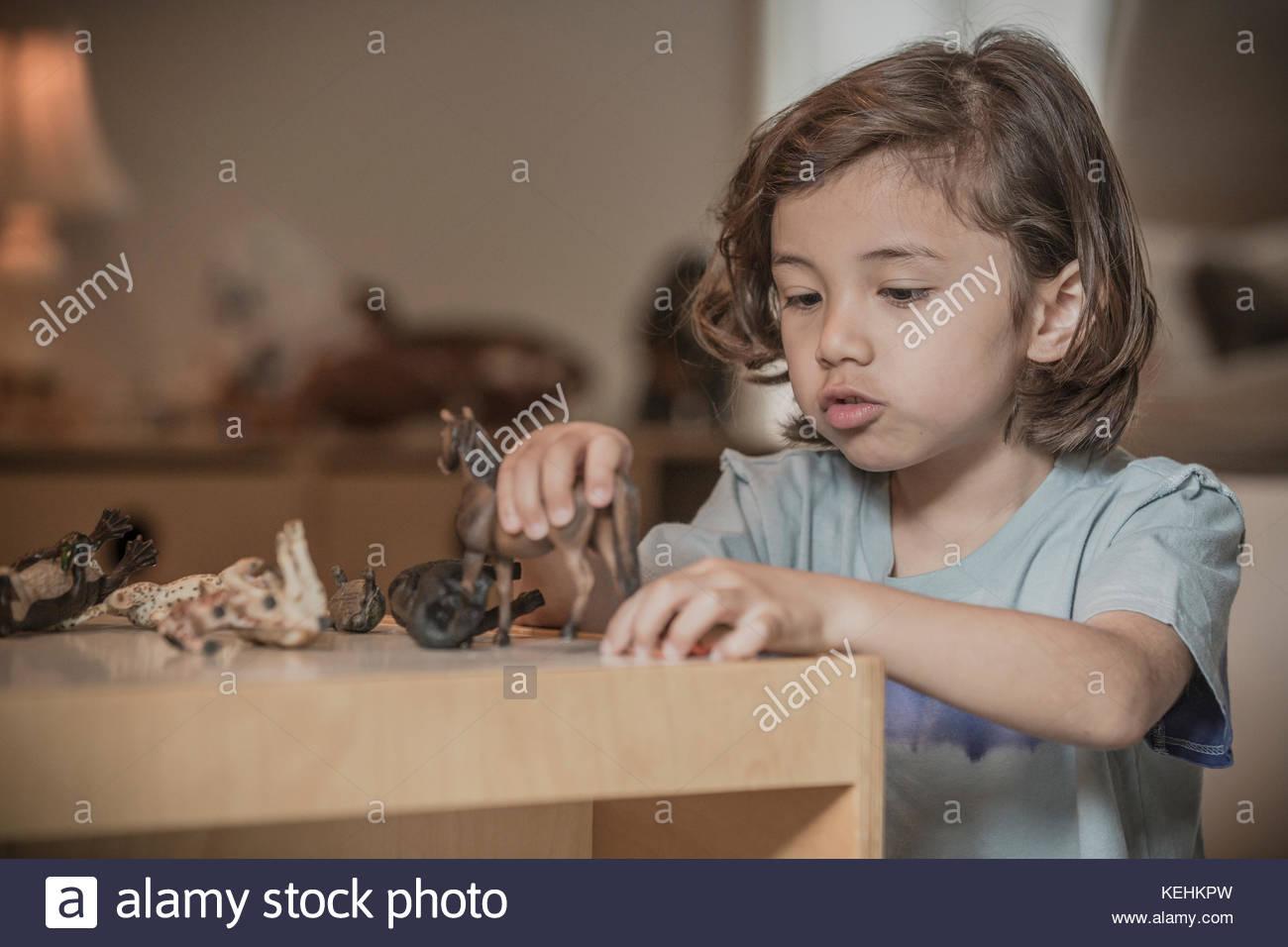 Gemischten rennen Junge spielt mit Spielzeug Tiere Stockbild
