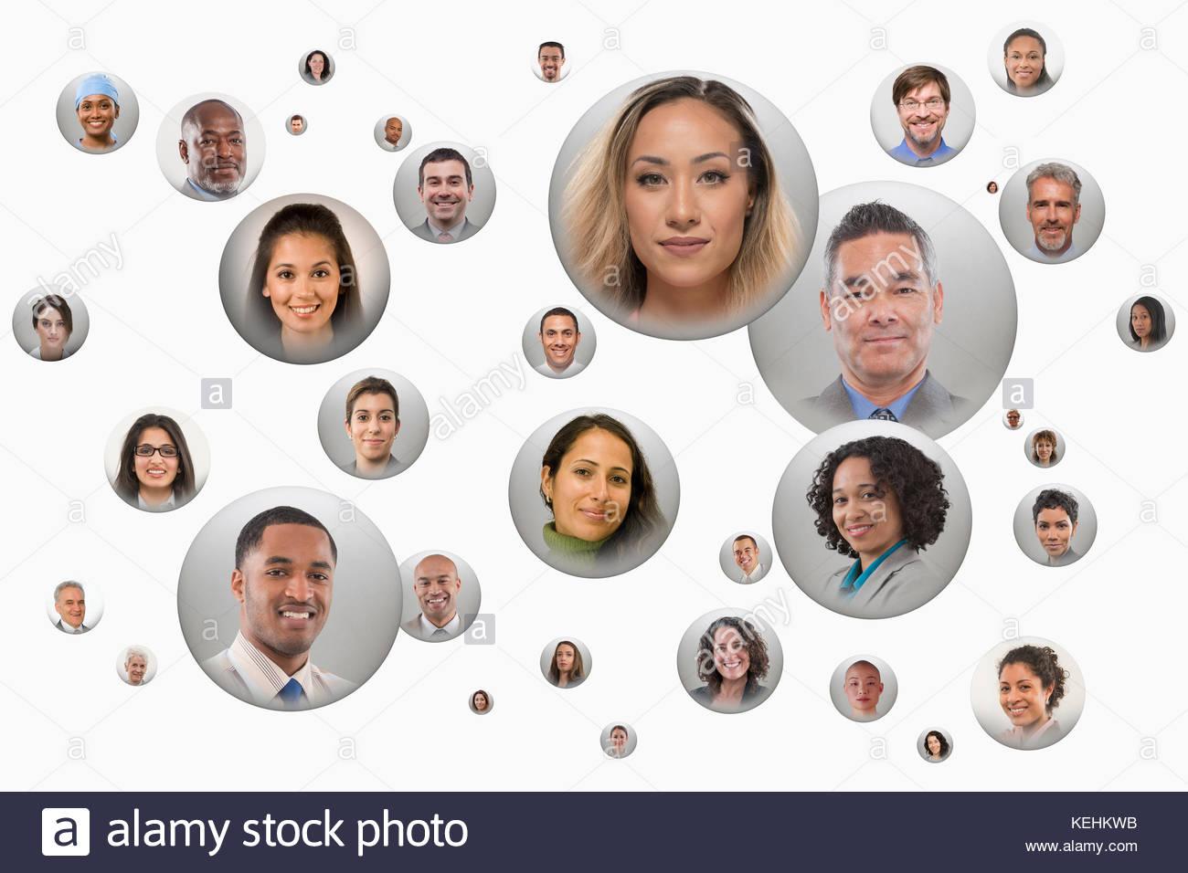 Gesichter der Menschen in den Bereichen Stockbild