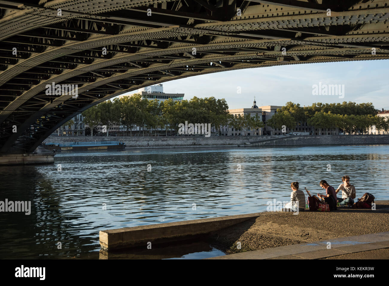 Lyon, Pont de l'Universite Stockbild