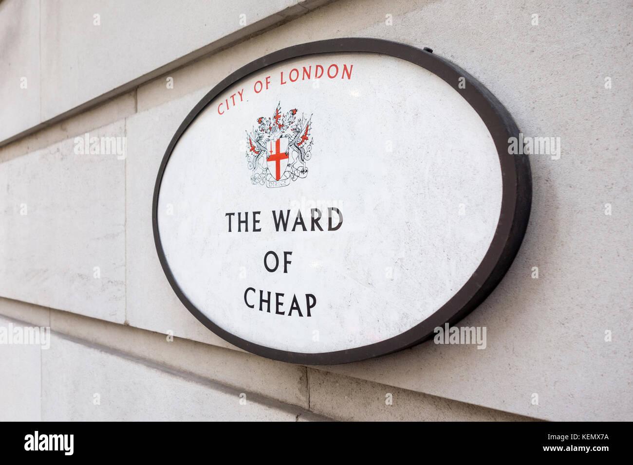 Zeichen für die Gemeinde von Billig, City of London, Großbritannien Stockbild