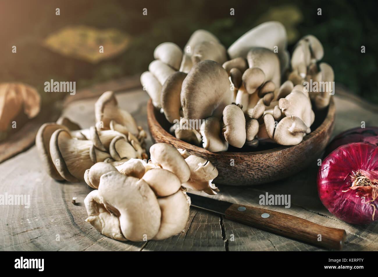 Rohe Pilze auf dem Stumpf und Blätter im Herbst. Herbst still-Leben. Selektive konzentrieren. Herbst Hintergrund. Stockbild