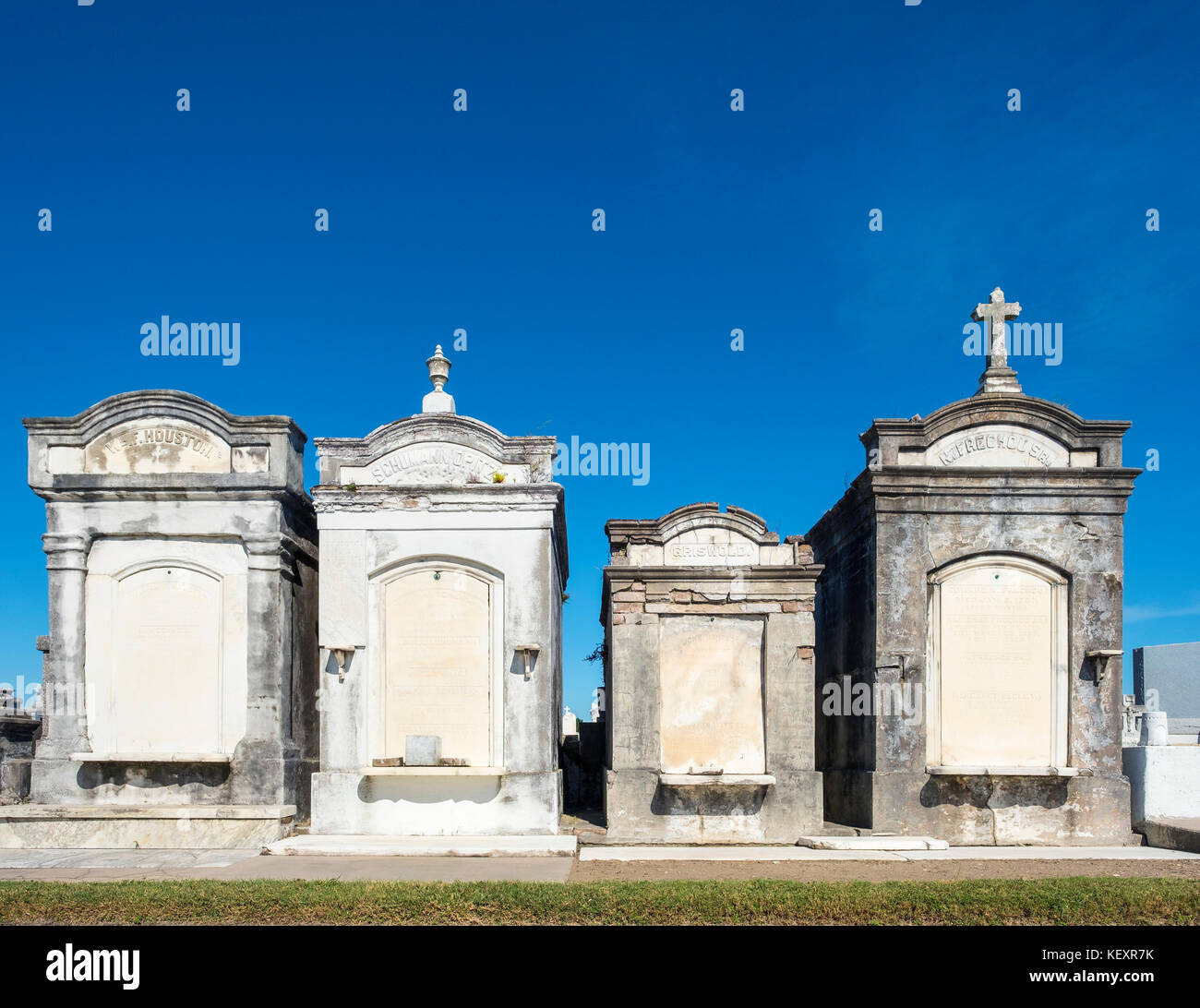 Usa, Louisiana, New Orleans. historischen oberirdischen Gräber in Greenwood Cemetery. Stockbild