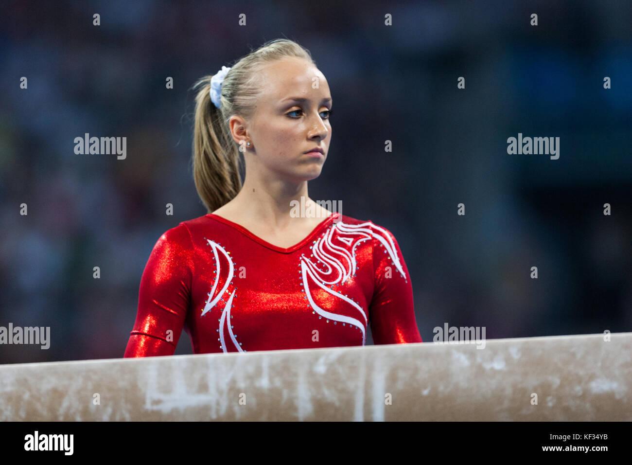 Nastia Liukin (USA) in der Nationalmannschaft bei den Olympischen Sommerspielen 2008 in Peking, China Stockbild