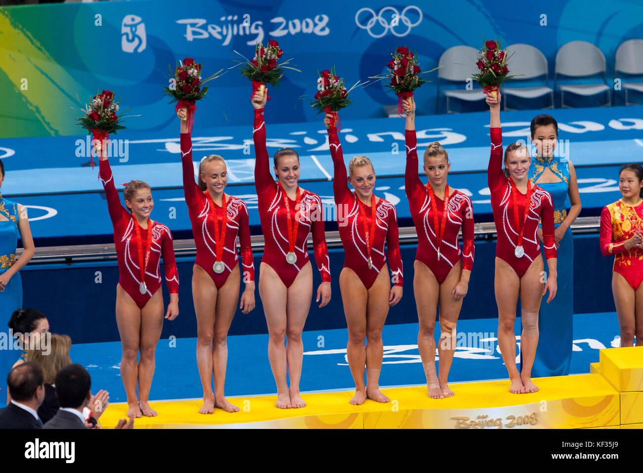 Team usa Silbermedaillengewinner in der Frauen künstlerische Gymnastik Team bei den Olympischen Sommerspielen Stockbild