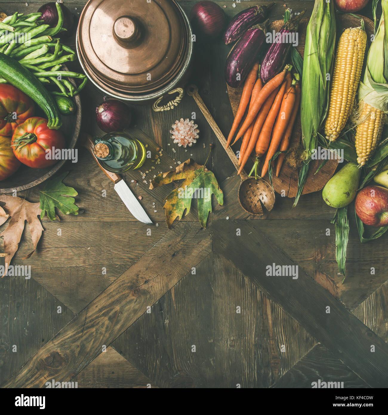 Herbst gesunden Zutaten für thanksgiving Tag Abendessen, Quadrat Erntegut Stockbild