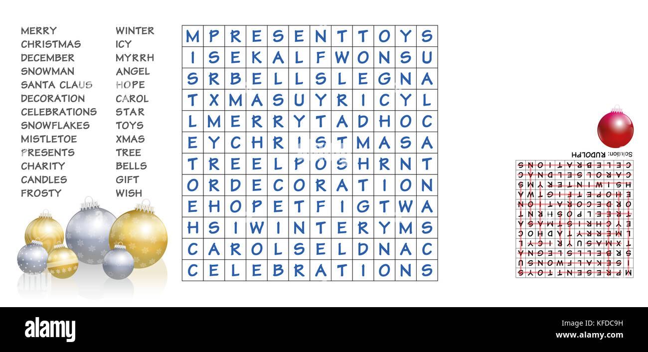 Weihnachten Kreuzworträtsel - die aufgelisteten Wörter in das Puzzle ...