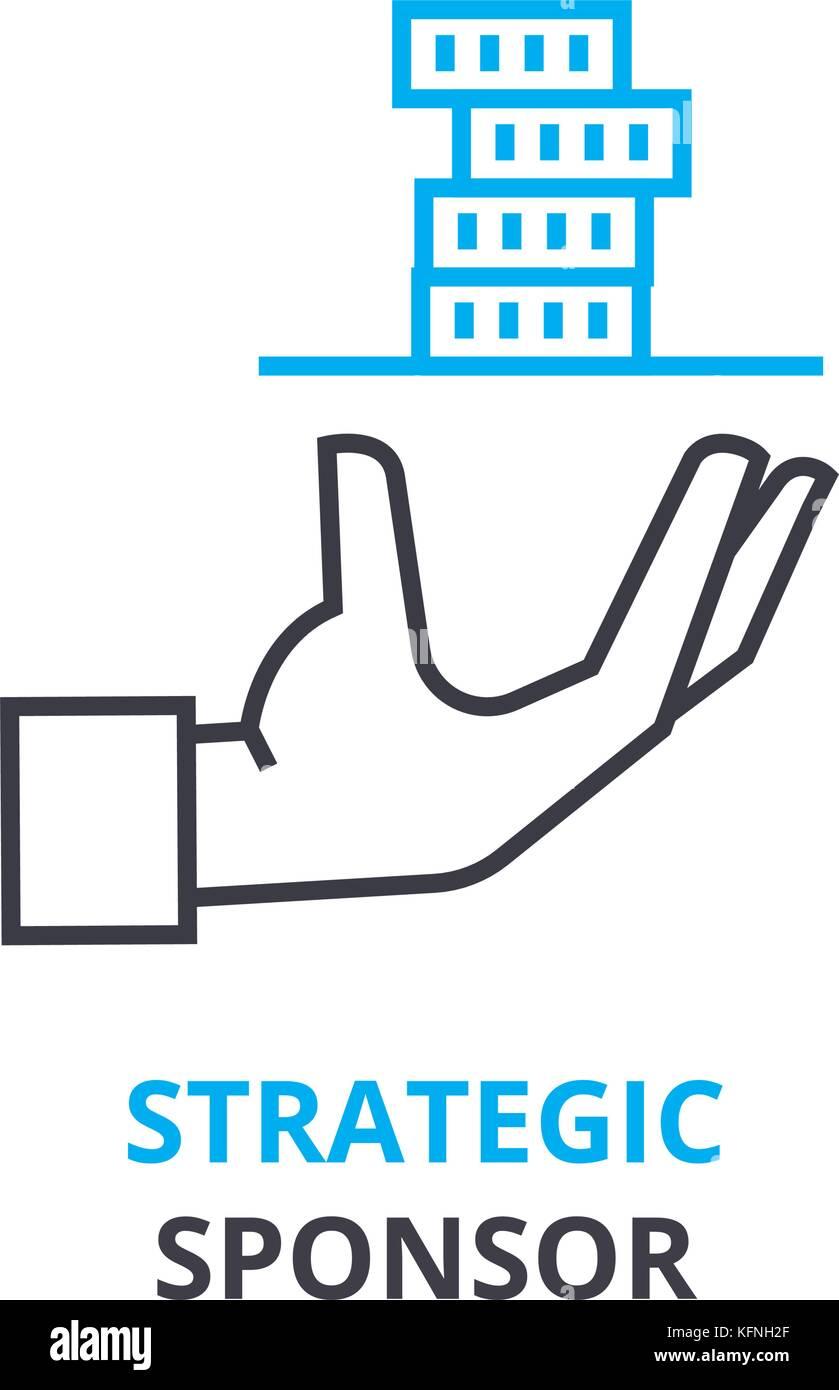 Strategische sponsor Konzept, Gliederung Symbol, lineare Zeichen, dünne Linie Piktogramm, Logo, Illustration, Stockbild