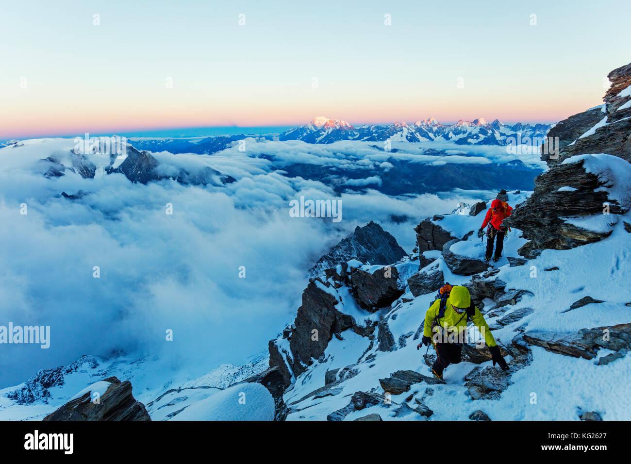 Sunrise View Blanc in Frankreich von der Grand Combin, Wallis zu Mont, Schweizer Alpen, Schweiz, Europa Stockbild
