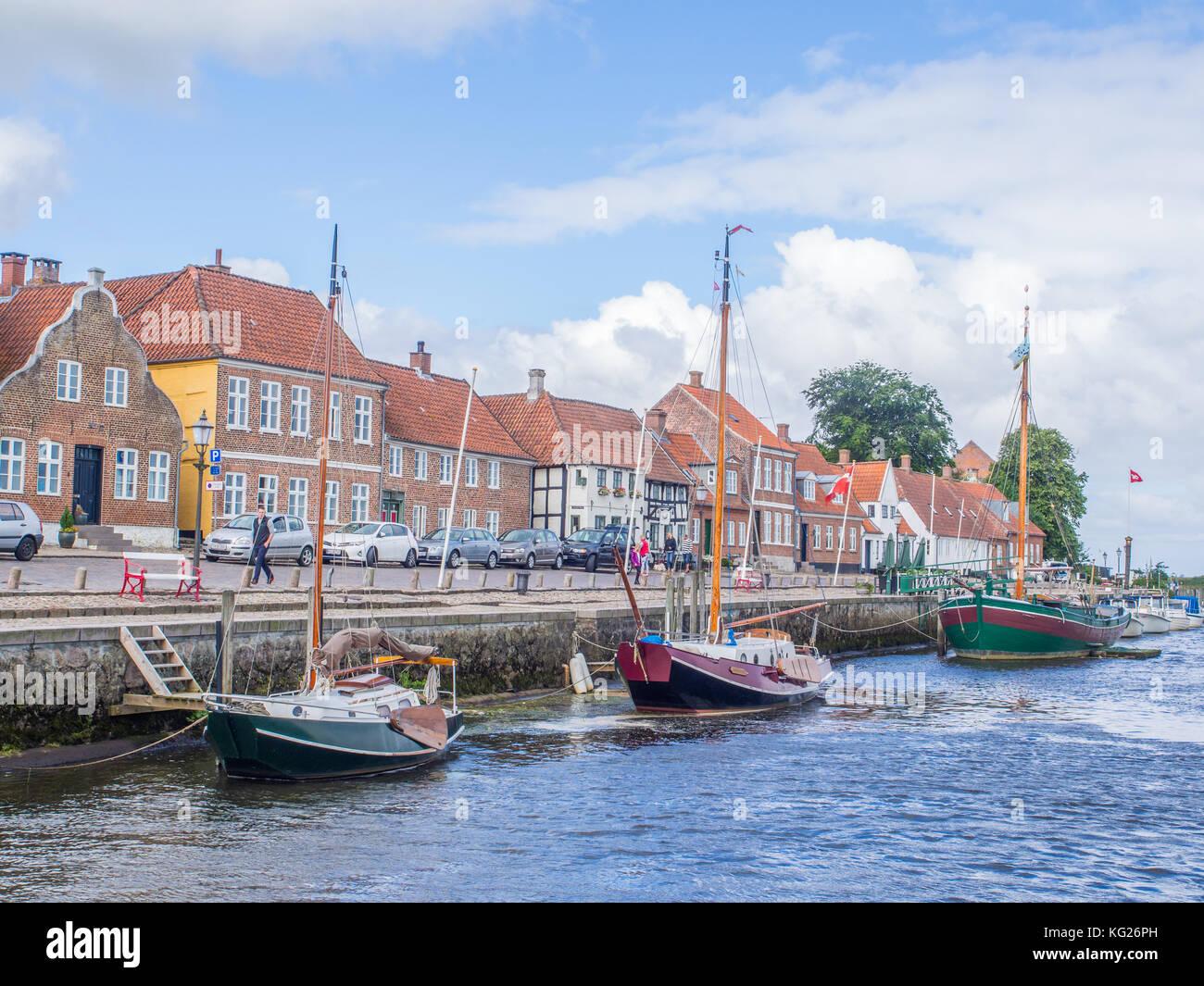 Die Ribe riverfront Wharf, Ribe, Jütland, Dänemark, Europa Stockbild