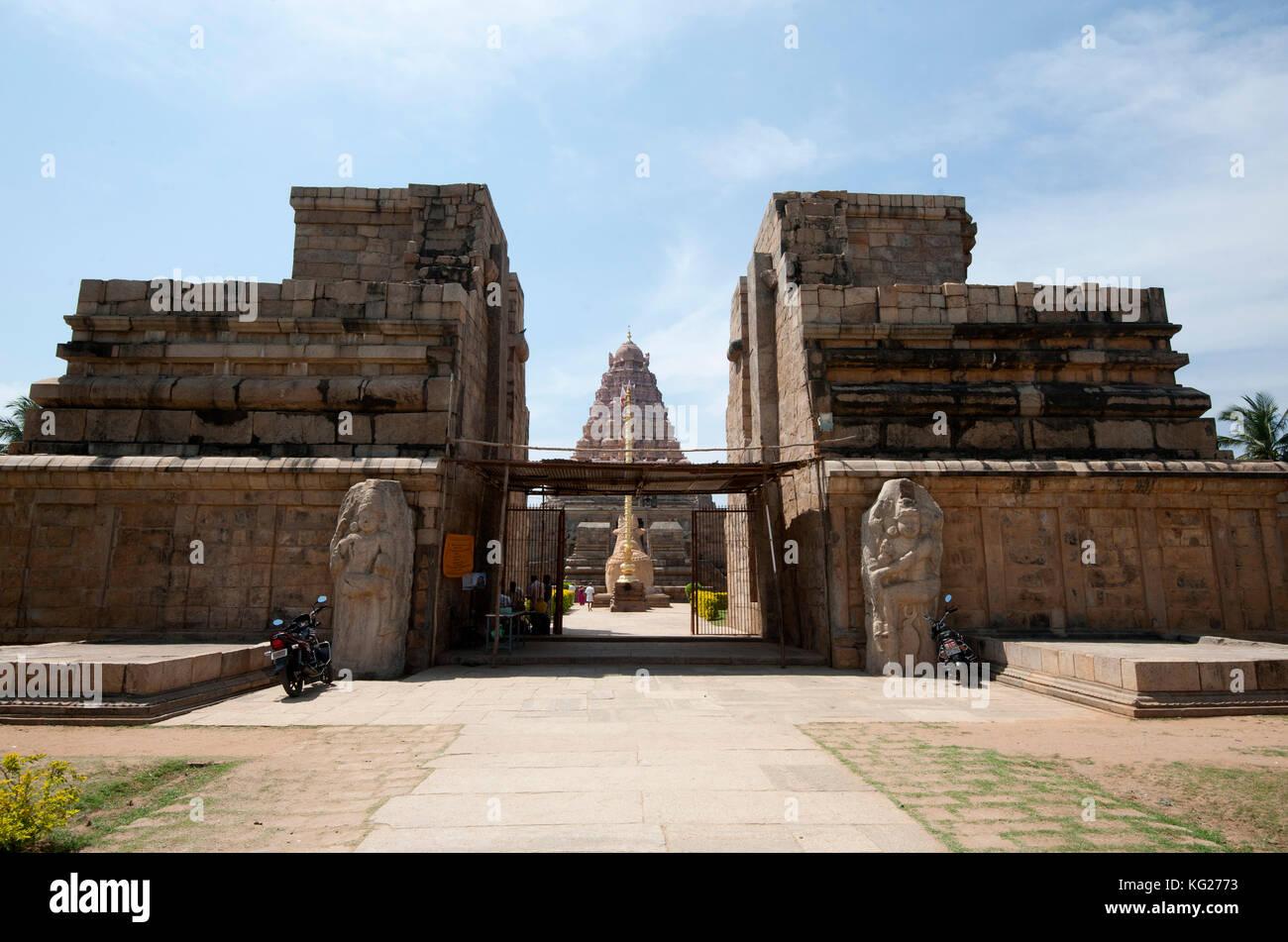 Eingang gangaikonda cholapuram, im 11. Jahrhundert als die Hauptstadt der Chola Dynastie im südlichen Indien, Stockbild