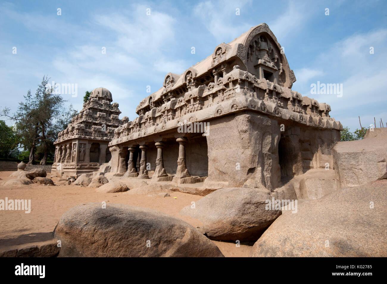 Teil des Pancha rathas Monument, das komplexe, aus dem 7. Jahrhundert, mahaballipuram, Weltkulturerbe der UNESCO, Stockbild