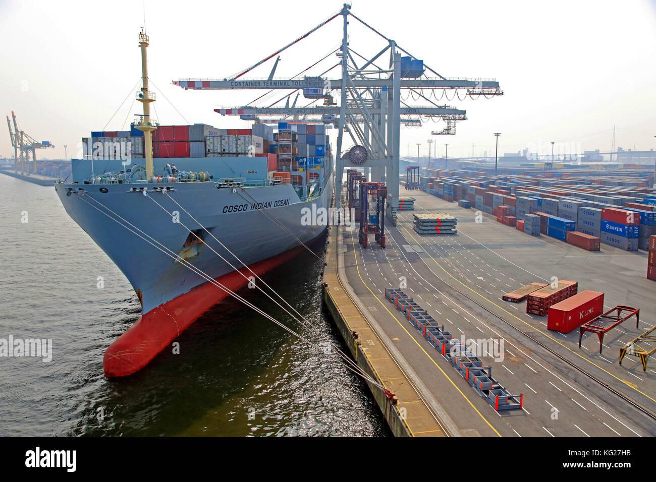 Container Terminal, Hafen, Hamburg, Deutschland, Europa Stockbild