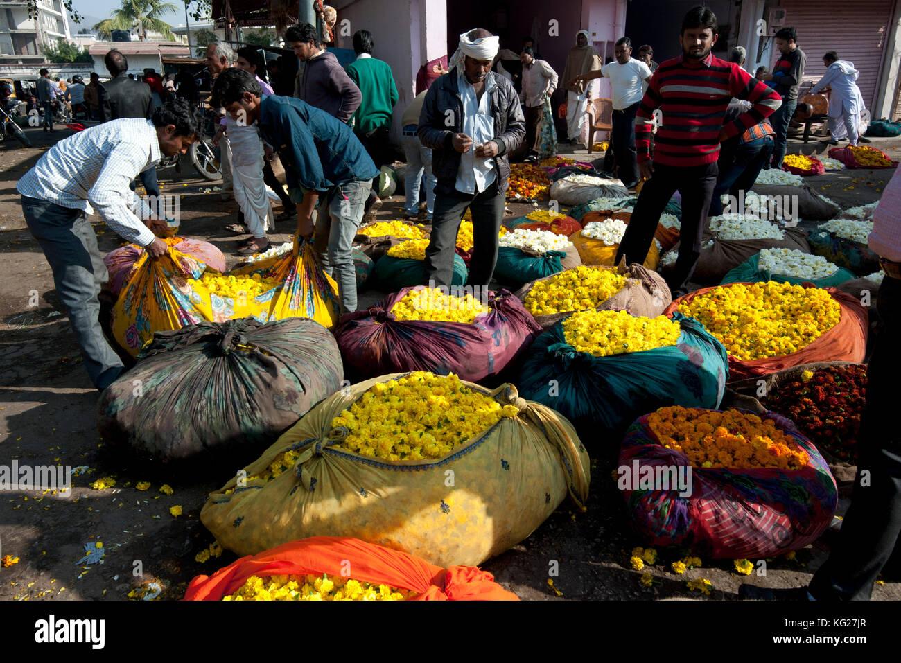 Männer kaufen gelbe Ringelblumen, gewogen und in Baumwolle tuch Pakete verpackt, am frühen Morgen, Blumenmarkt, Stockbild