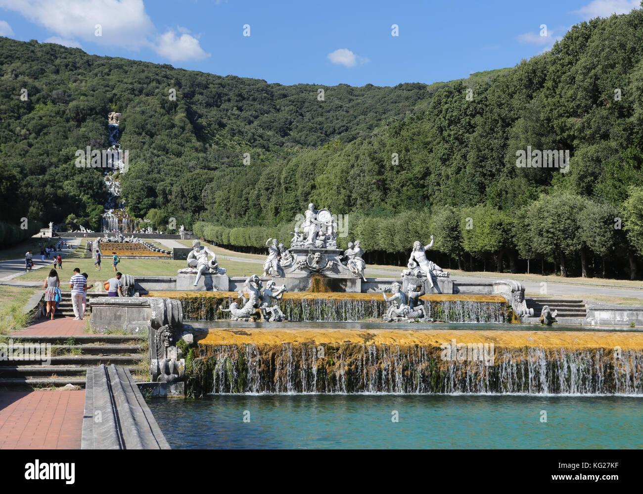 Brunnen und Gärten, Reggia di Caserta, Neapel, Kampanien, Italien, Europa Stockbild