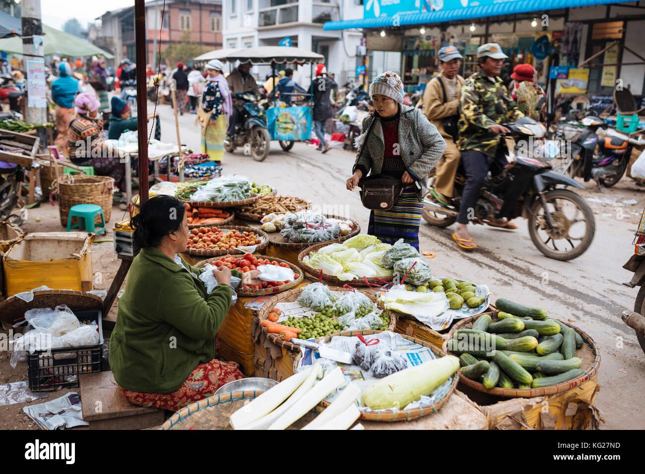 Hsipaw Morgen Markt, hsipaw, Shan Staat, Myanmar (Birma), Asien Stockbild