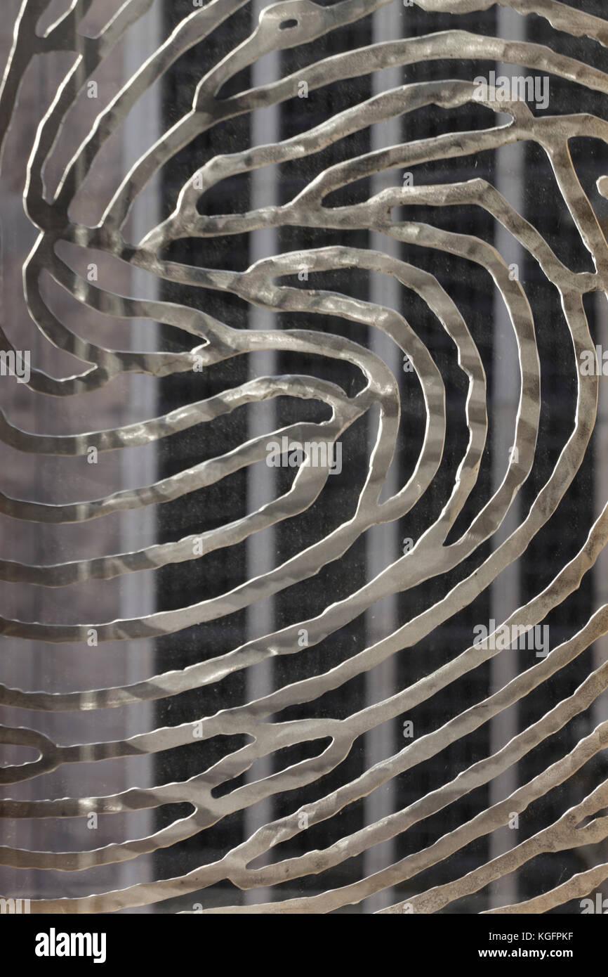 Detail Aluminium Fingerabdruck Panel. deventer City Hall, Deventer, Niederlande Architekt: Neutelings Riedijk Architects, Stockbild