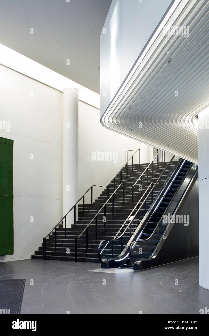 Detail der Treppe im Foyer. Engel, London, Großbritannien Architekt: Fletcher Priester Architekten llp, 2017. Stockbild
