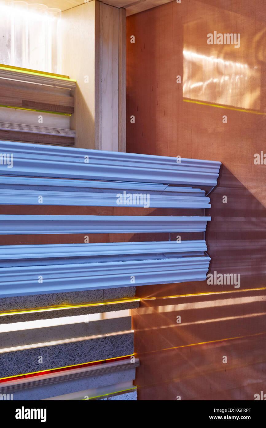 Detail der unterschiedlichen Konstruktion material. Der Stack - mini Living urban Kabine, London, Großbritannien Stockbild