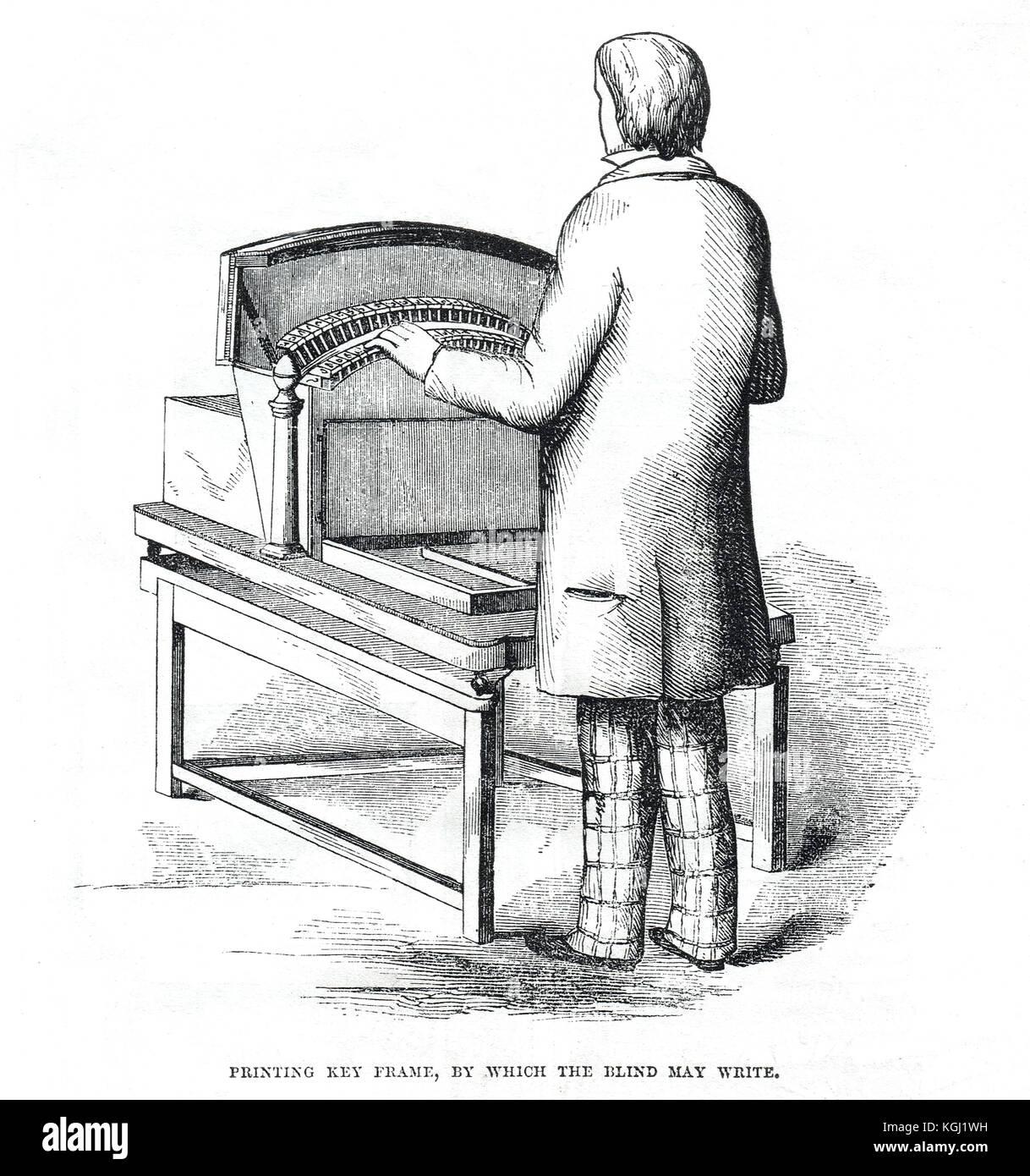Drucken Key Frame Foucault Schreibmaschinen für Blinde, Weltausstellung von 1851 Stockbild