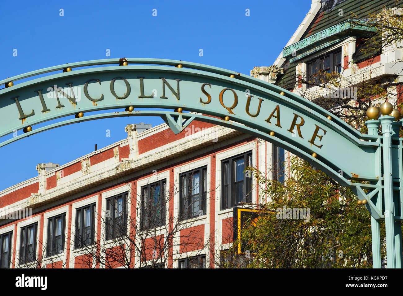 Straßenbild Zeichen in der Lincoln Square Nachbarschaft auf der Nordseite von Chicago. Stockbild