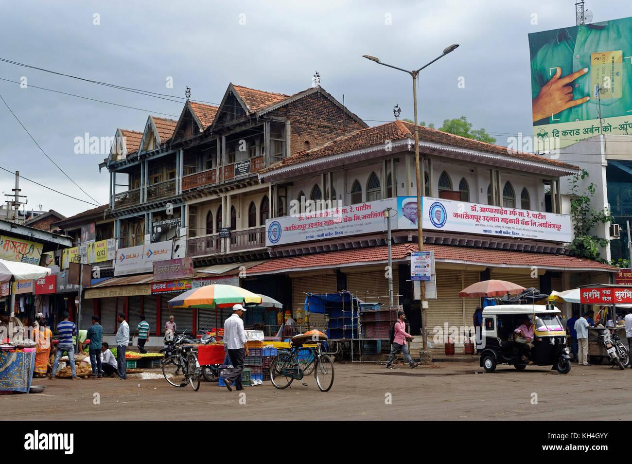 Gebäude bei miraj Markt, Maharashtra, Indien, Asien Stockbild