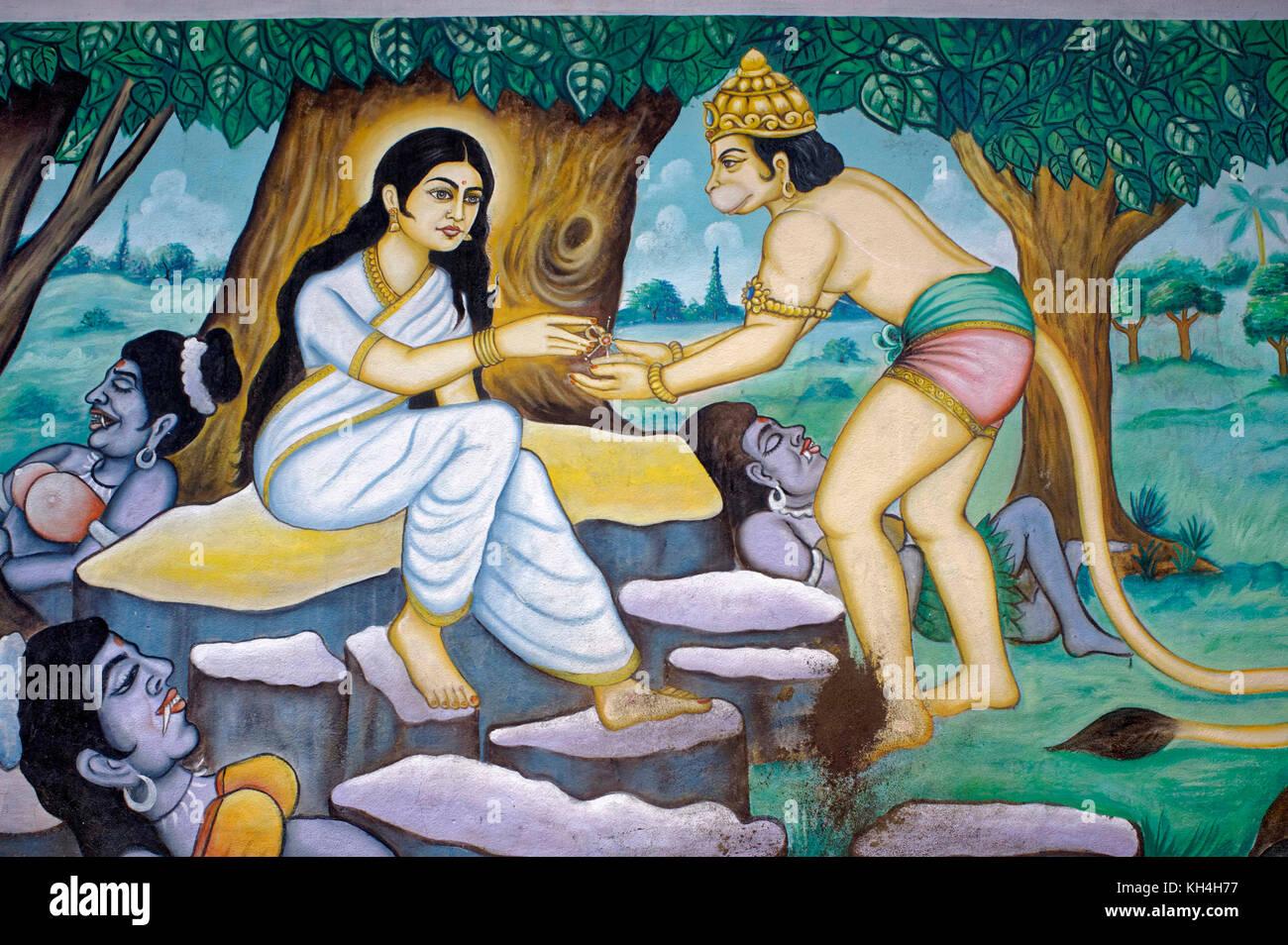 Hanuman und Sita Gemälde an der Wand des anjaneya Tempel, Karnataka, Indien, Asien Stockbild