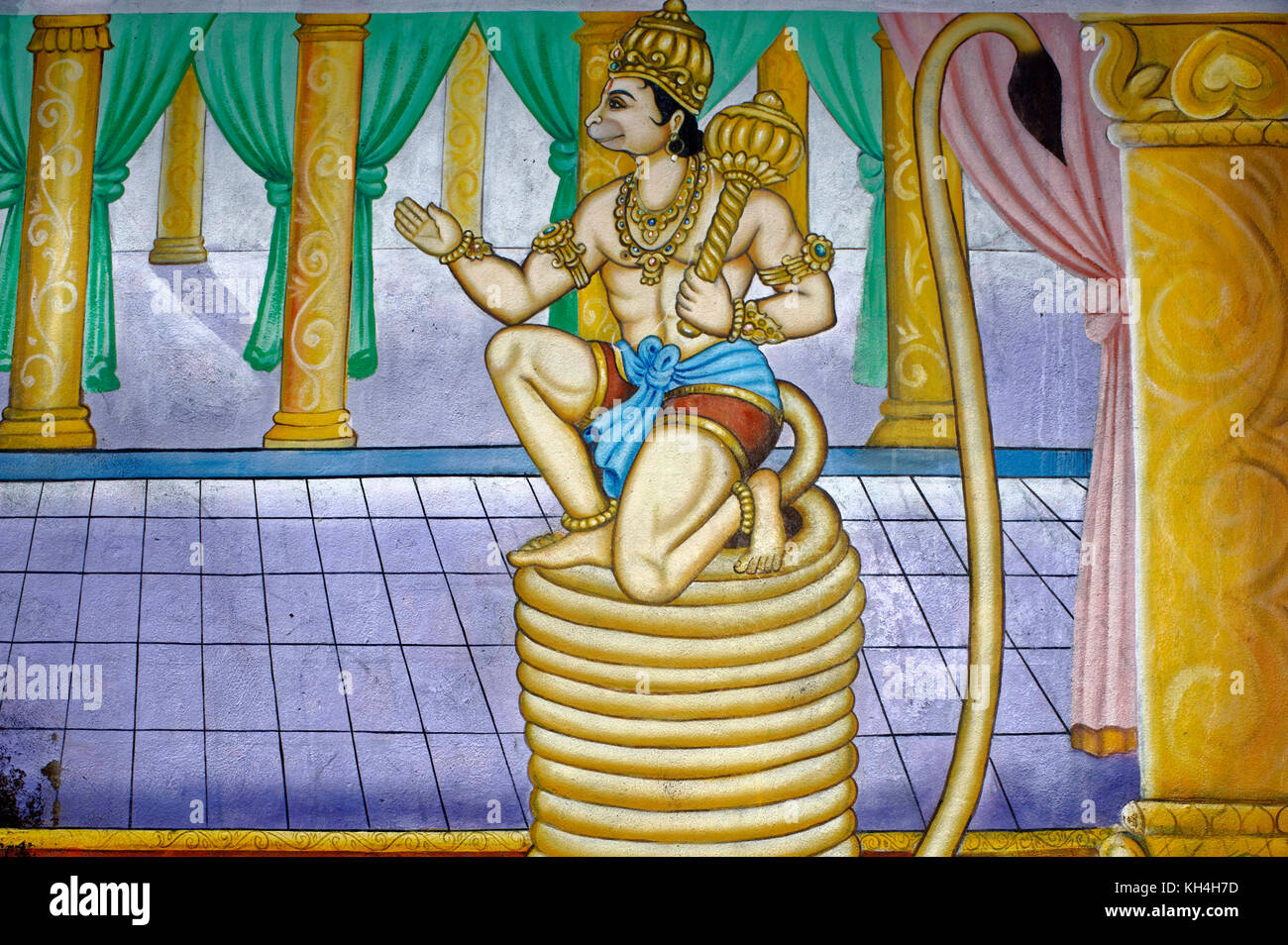 Hanuman Gemälde an der Wand des anjaneya Tempel, Karnataka, Indien, Asien Stockbild