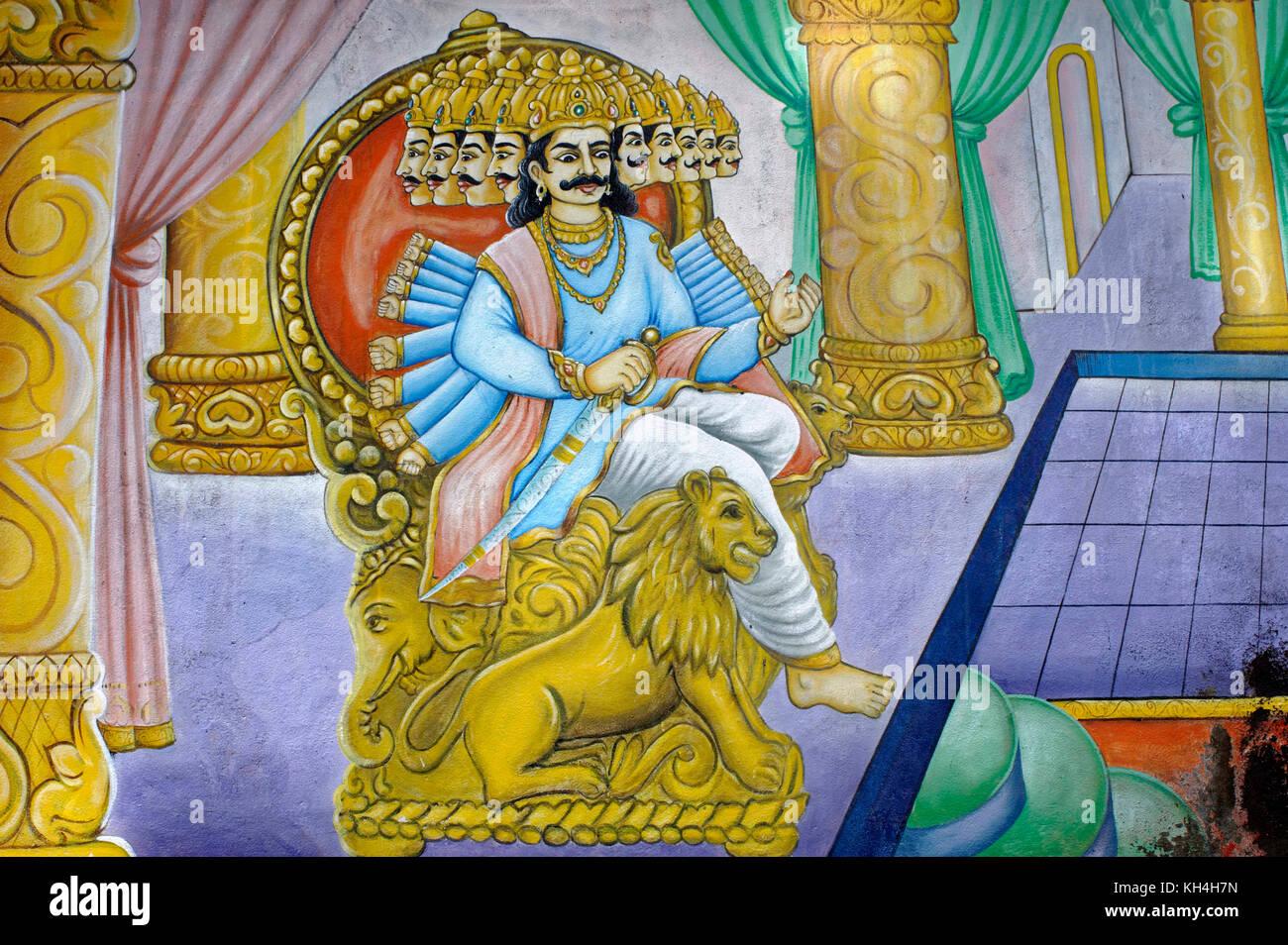 Ravana Gemälde an der Wand des anjaneya Tempel, Karnataka, Indien, Asien Stockbild