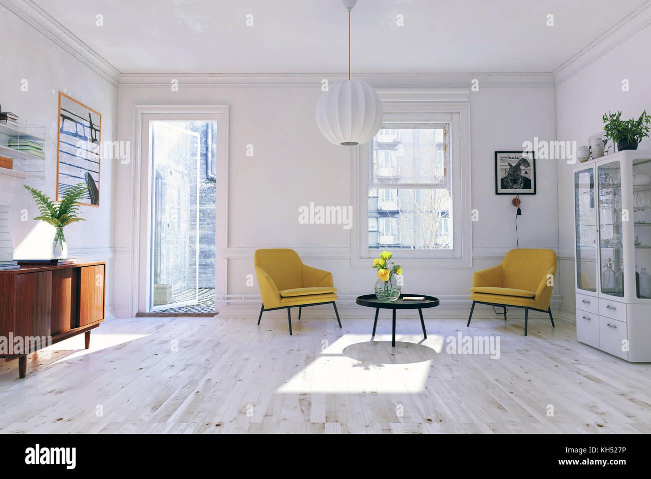Das moderne Interieur. skandinavischen Flair. 3D Rendering illustration Konzept Stockbild