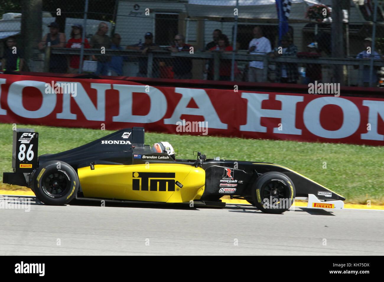 Brendon Leitch. Auto86.sponsor kiwi Motorsport Formel 4 Rennen.mid-Ohio-Kurs. Lexington, Mansfield, Ohio, USA. Stockbild