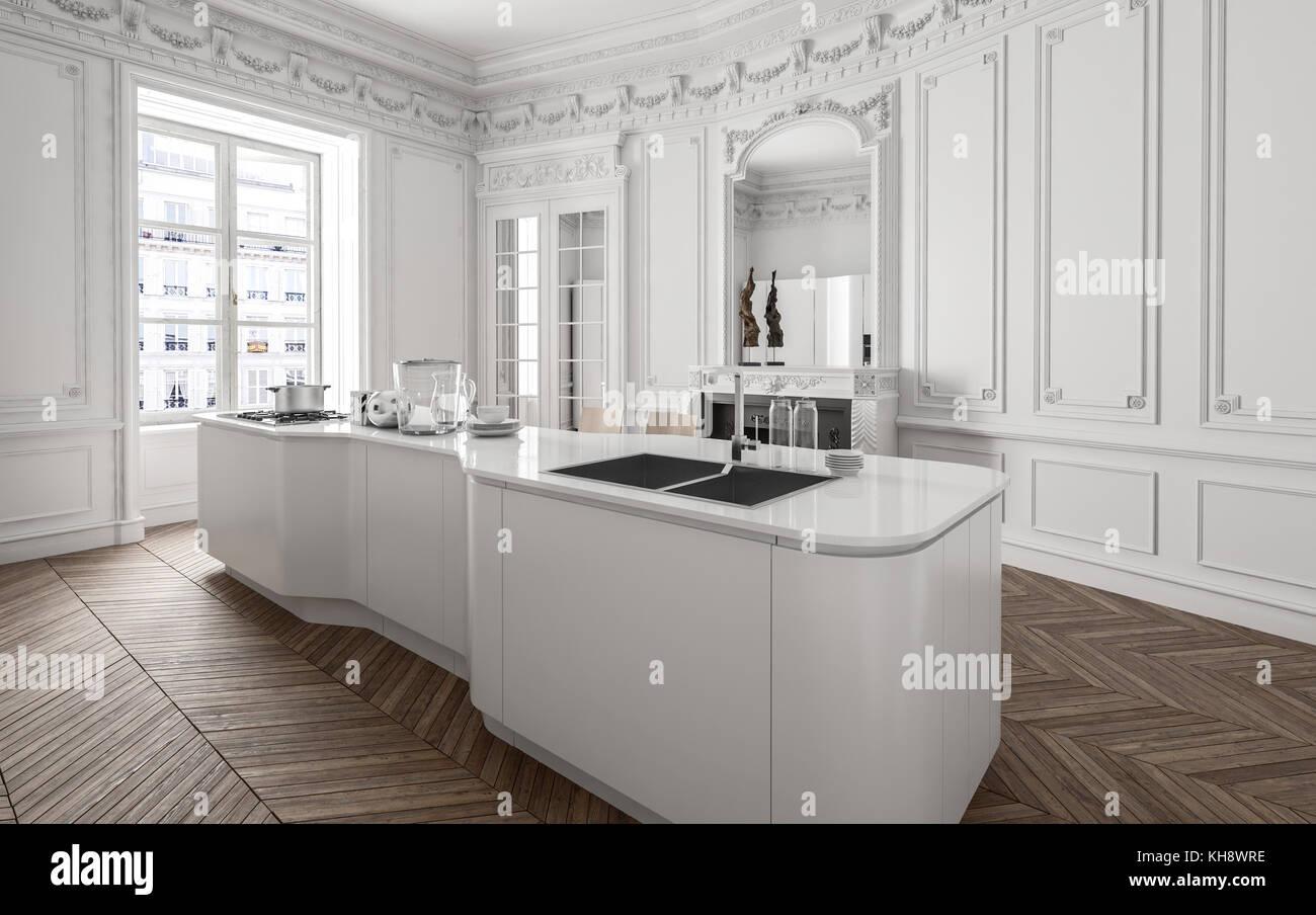 Wunderbar Moderne Küchen Mit Insel Dekoration Von Zentrum Der Eingebauten Geräte Und Spüle In