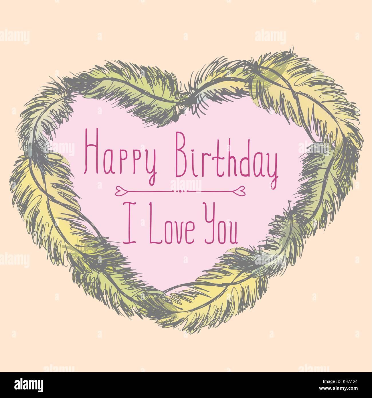 Alles Gute zum Geburtstag, ich liebe dich, süße Karte mit Rahmen aus ...