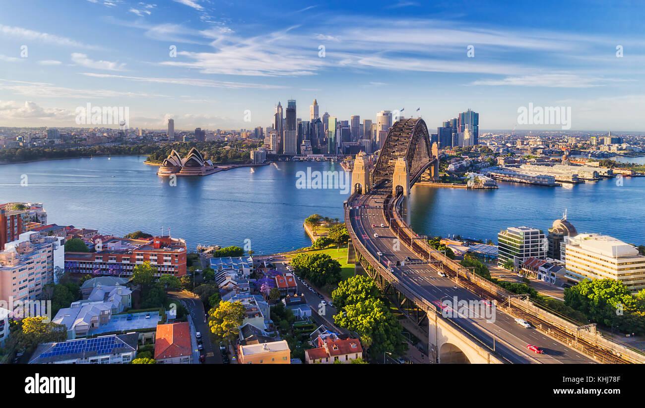 Cahill express Weg in die Sydney Harbour Bridge in Sydney Harbour in Richtung Innenstadt Sehenswürdigkeiten Stockbild