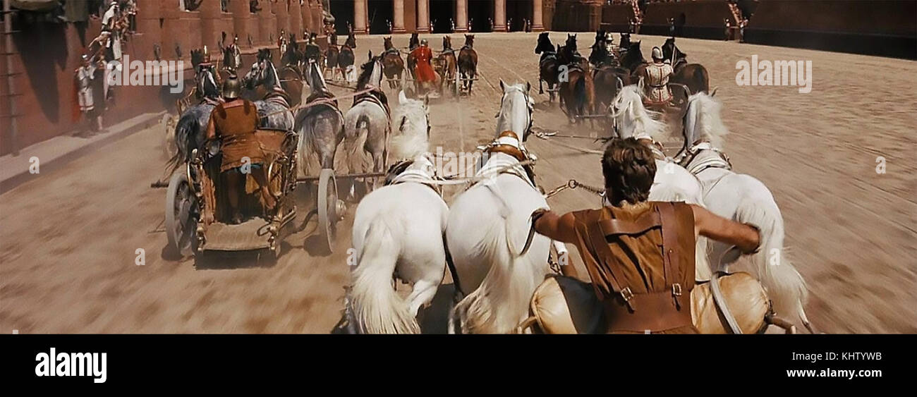 Ben-hur 1959 mgm Film mit Charlton Heston in der epischen Wagenrennen mit seinen weißen Team der Pferde Stockbild