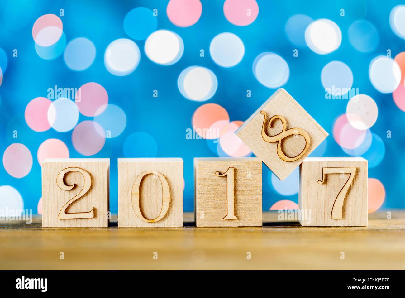 Herzlichen Glückwunsch zum neuen Jahr. Das neue Jahr 2018. Unscharfe ...