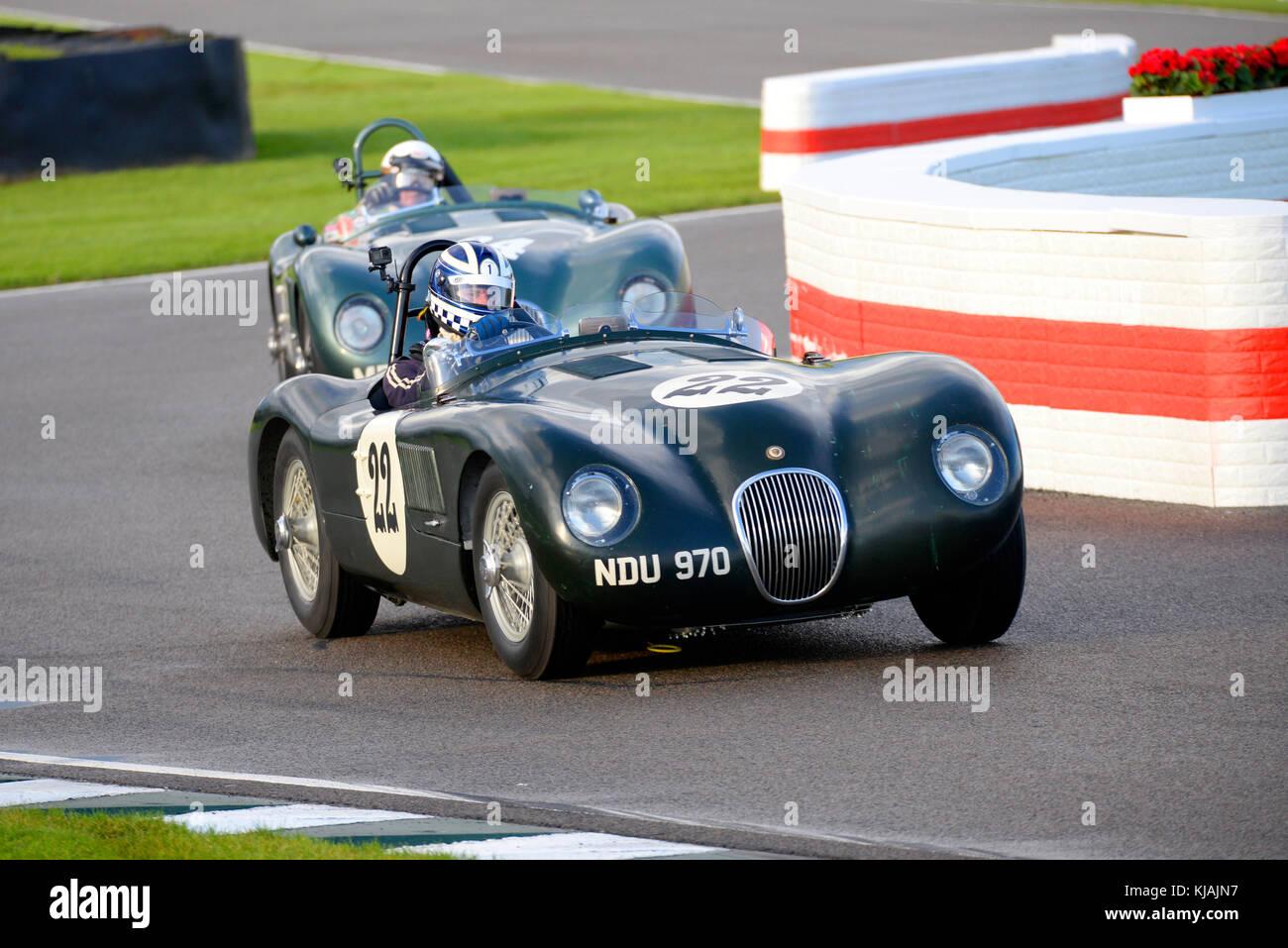 1953 Jaguar Typ C im Besitz und betrieben von Frederic Wakeman racing in der Freddie März Memorial Trophy am Stockbild