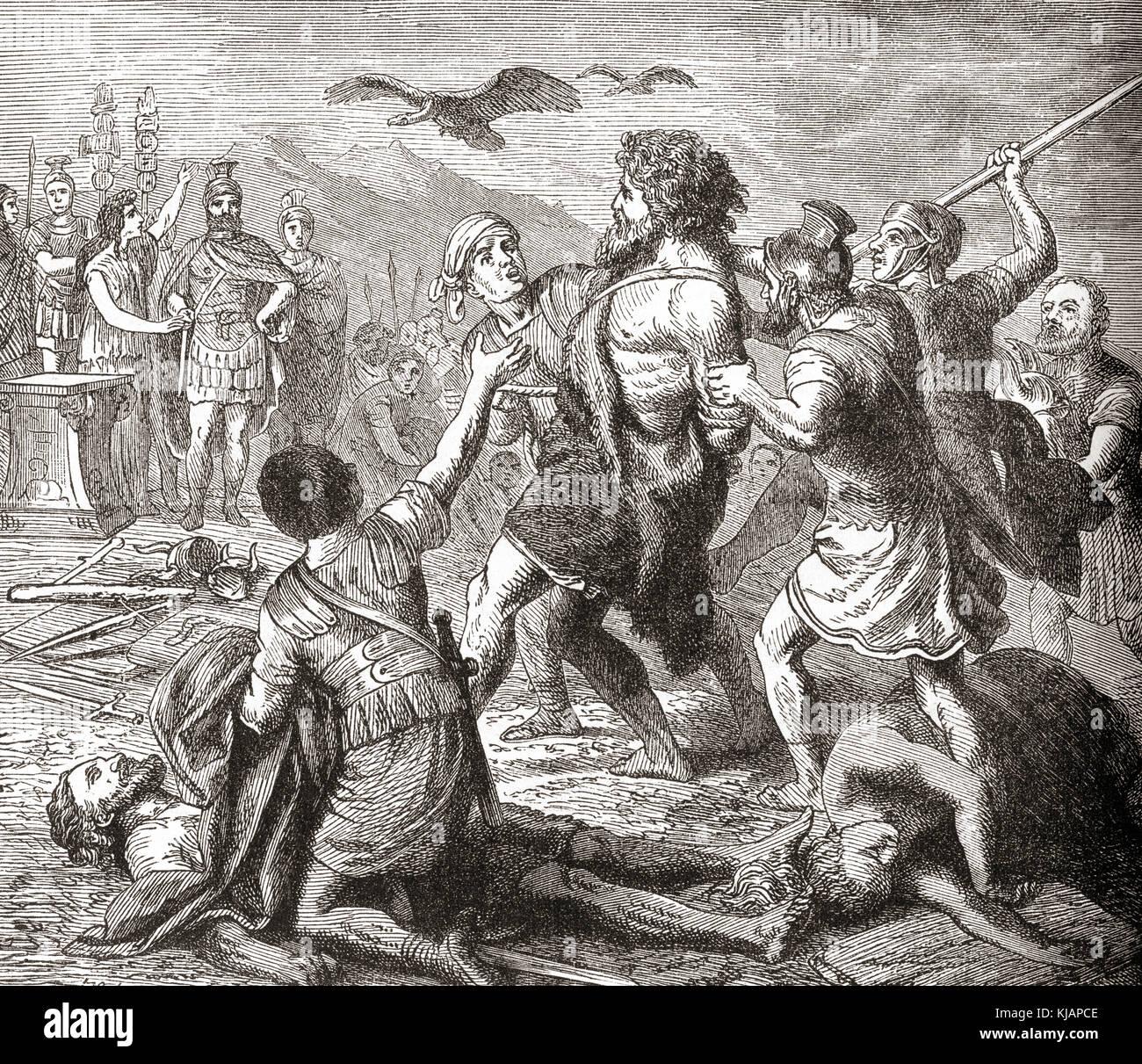 Die Erfassung von teutobochus, einem legendären Riesen und König der Germanen. von Station und Lock's Stockbild