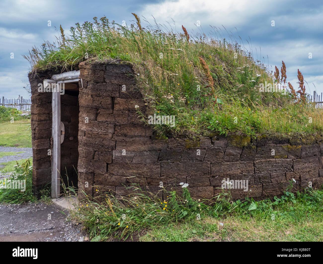 Rekonstruierte Dorf, l'Anse aux Meadows National Historic Site, l'Anse aux Meadows, Highway 430, der Viking Stockbild