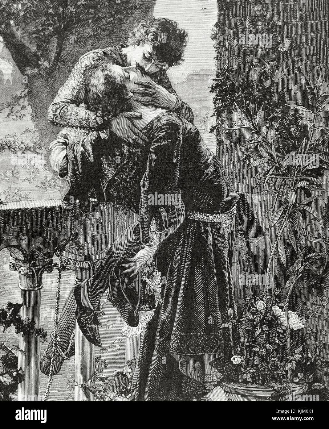 William Shakespeare (1564-1616) englischer Schriftsteller. Romeo und Julia küssen. Gravieren, durch falander, Stockbild