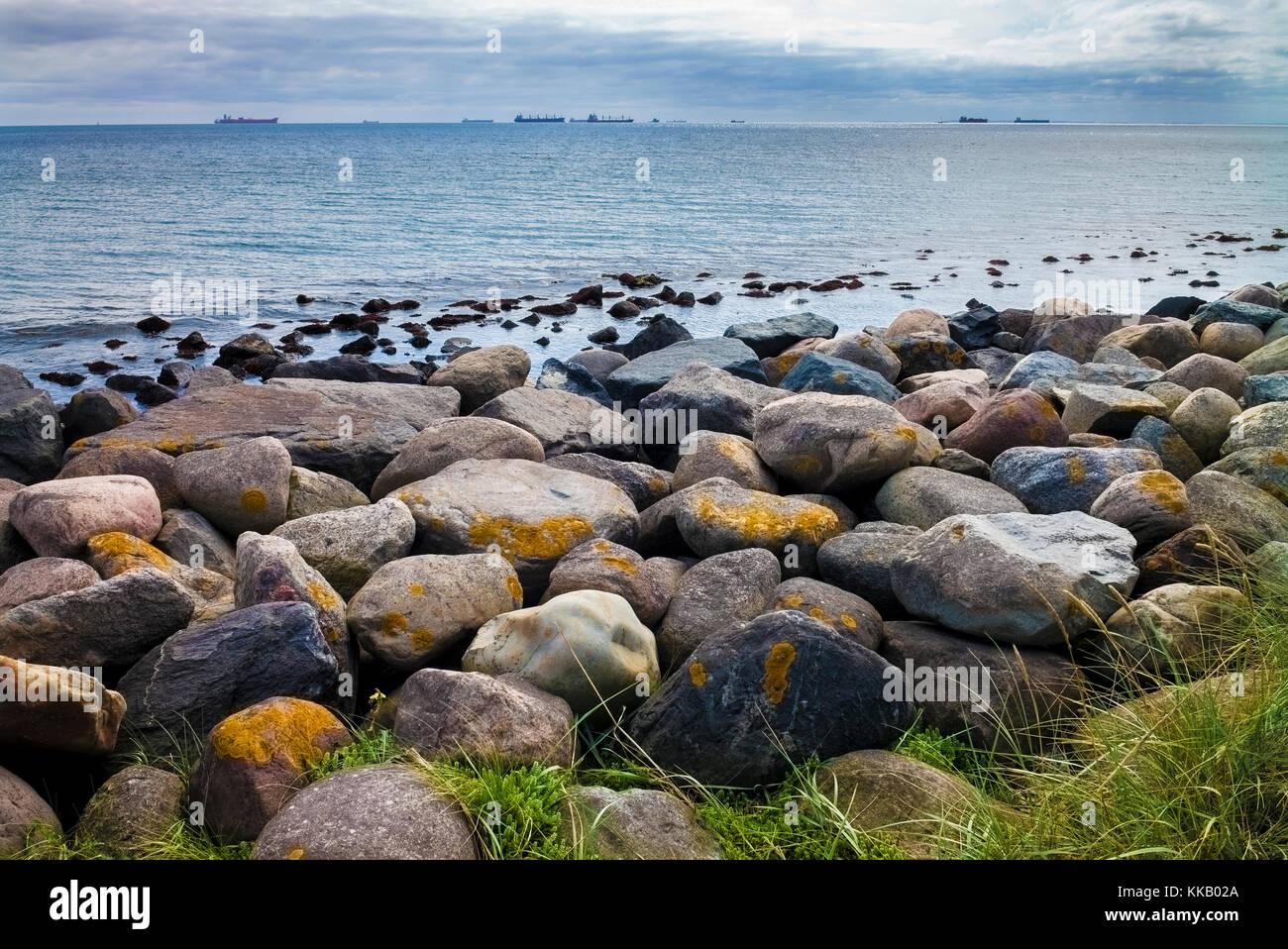 Öltankschiffe aus Skagen Strand Halbinsel Landspitze, Konferenz der Nord- und Ostsee, Grenen, Skagen, Nordjütland, Stockbild