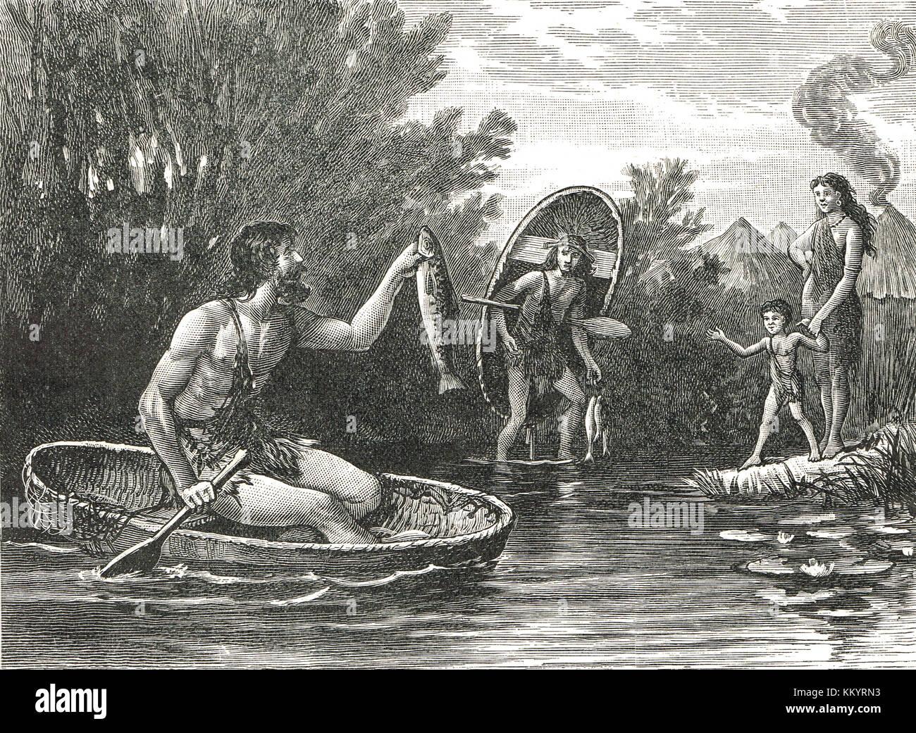 Alten Briten mit coracles, ad62 Stockbild