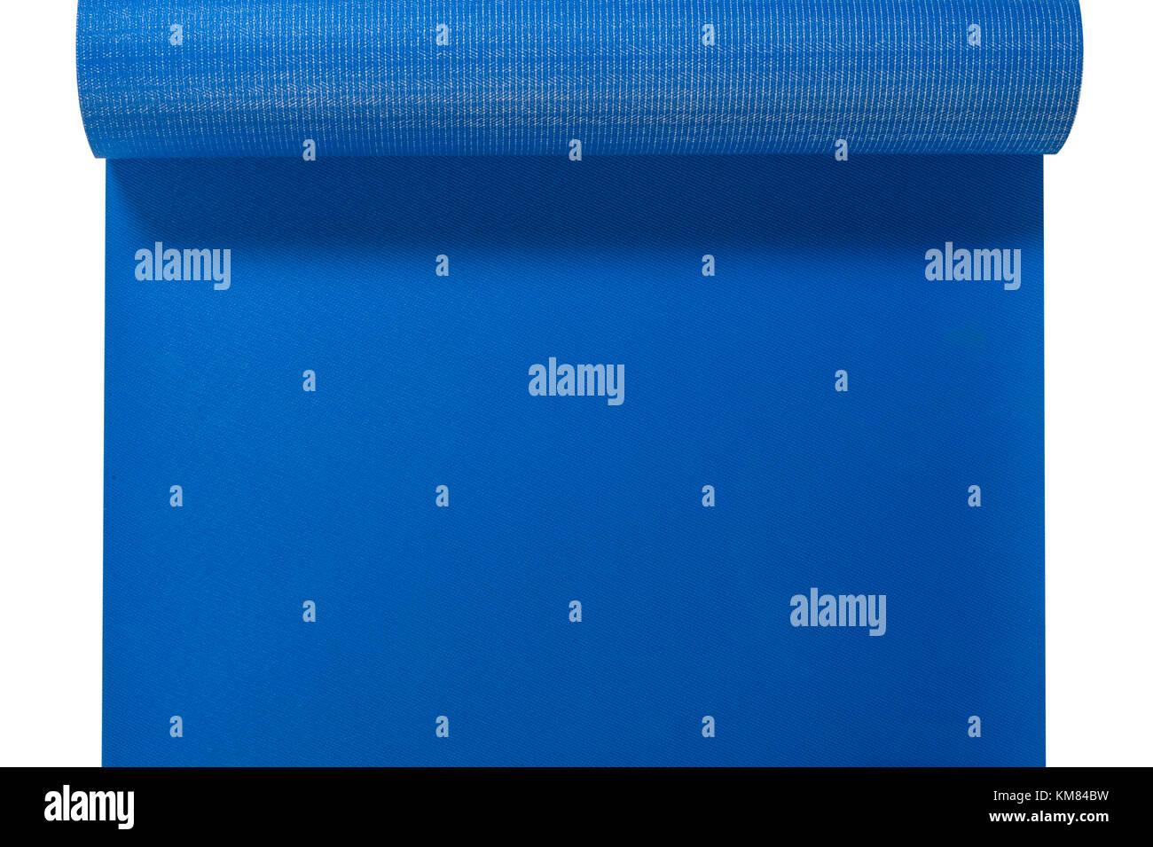 Eine Ansicht eines blauen Yoga Matte Stockbild