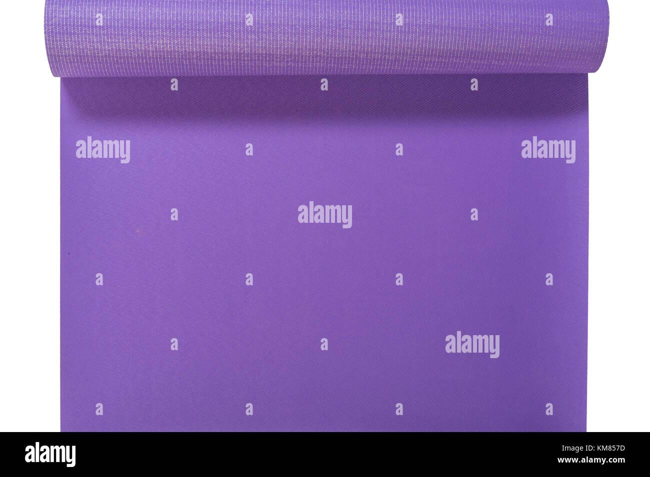 Eine Ansicht aus einem Lila Yogamatte Stockbild