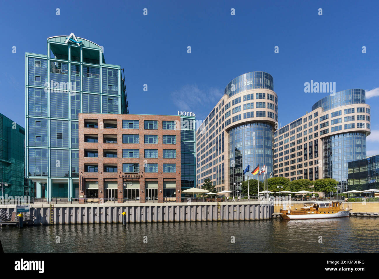 Spreebogen, moderne Architektur, Spree, Alt Moabit, Hotel abion, alte bolle Molkerei,, Berlin, Deutschland Stockbild