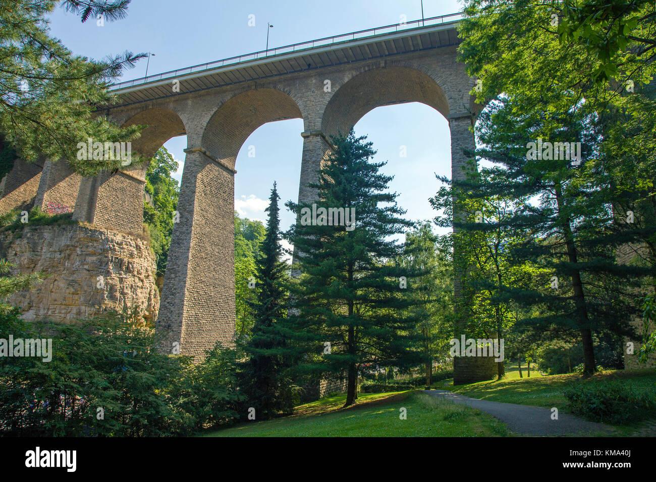Viadukt, auch Passerelle oder alte Brücke, der Stadt Luxemburg, Luxemburg bekannt, Europa Stockbild