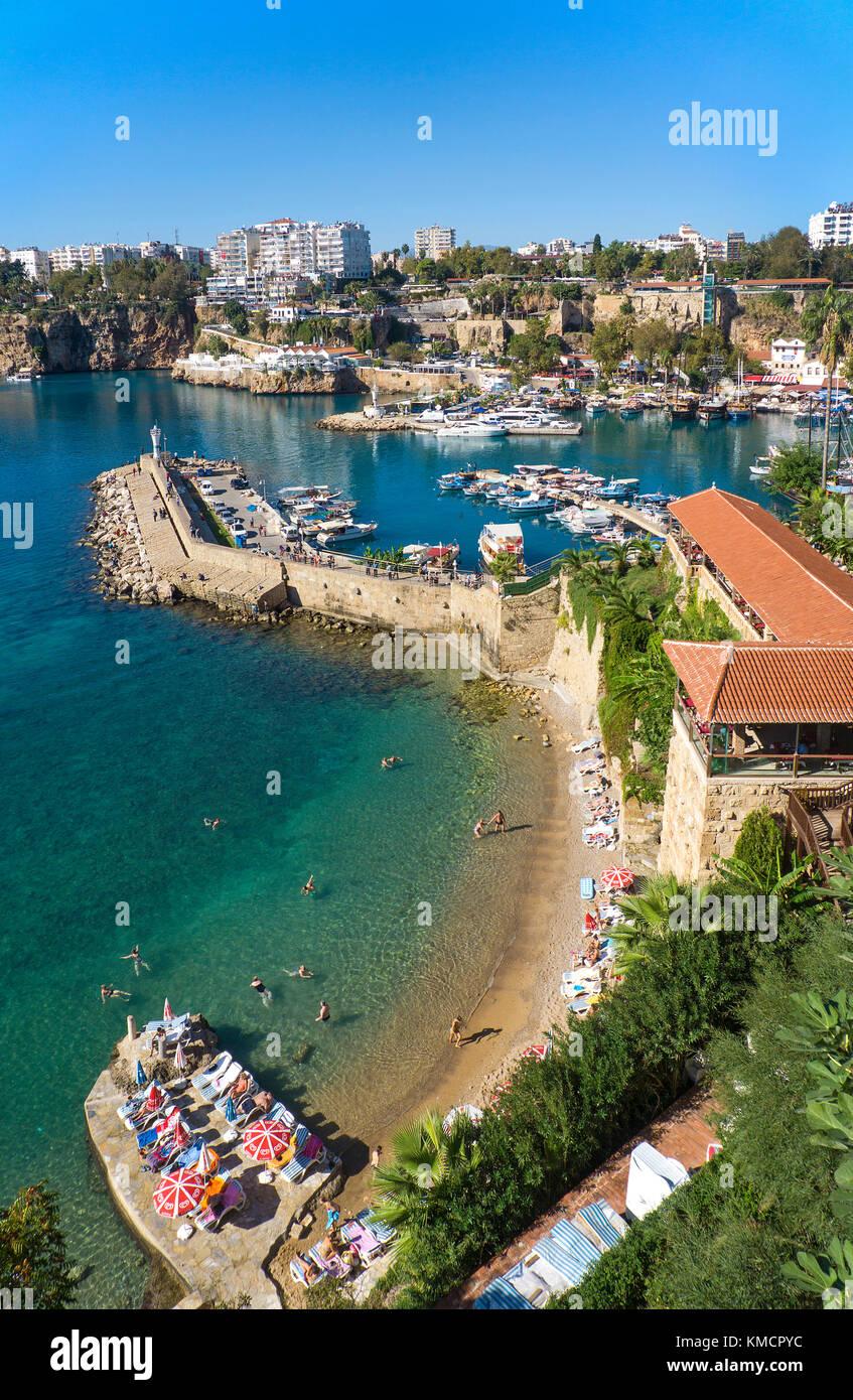 Hafen in der Altstadt Kaleici, UNESCO-Weltkulturerbe, Antalya, Türkische Riviera, Türkei Stockbild
