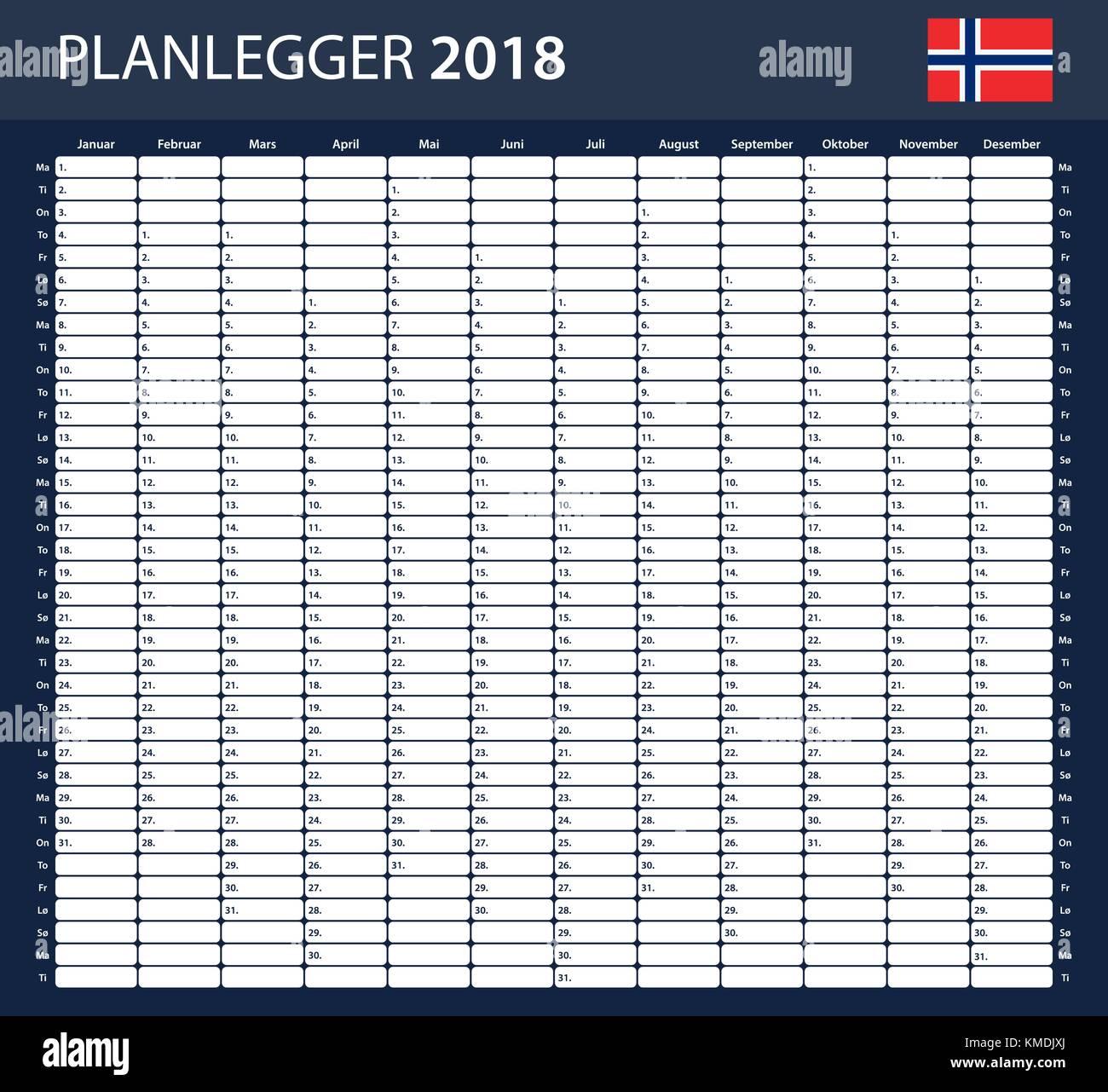 Norwegische Planer leer für 2018. Scheduler, Agenda oder Tagebuch ...