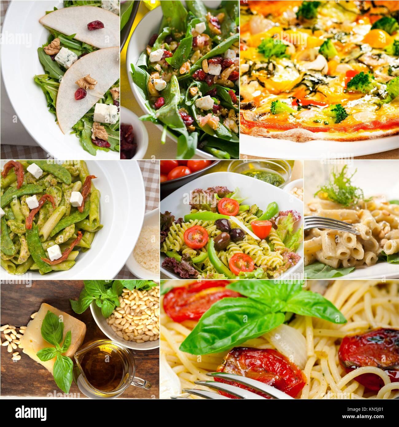 gesunde vegetarische nudeln suppe salat pizza italienische grundnahrungsmittel collage stockfoto. Black Bedroom Furniture Sets. Home Design Ideas