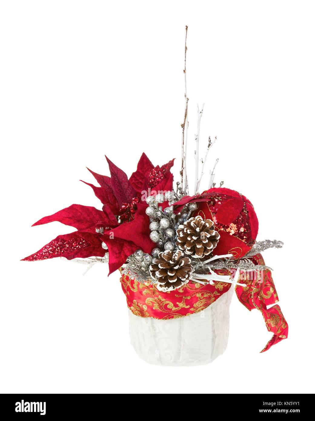 zusammensetzung von weihnachtsstern pflanze mit zweigen tannenzapfen b ndern und luftballons. Black Bedroom Furniture Sets. Home Design Ideas